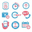 Open 24 hours a day and 7 days a week icons — Stock Vector #52158935