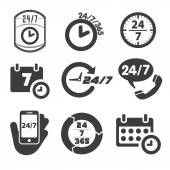 Open 24 hours a day and 7 days a week icons — Stock Vector