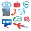 Various postage and support related icon set — Stock Vector #52550413