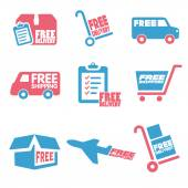 Free Shipping icons and buttons pack — Stock Vector