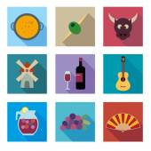 Spain vector icons set — Stock Vector