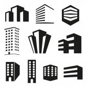 Building real state icons set — Vector de stock