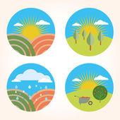 Set garden farm scene — Stock Vector