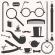 Gentlemens vintage stuff design elements set — Vector de stock  #55987351