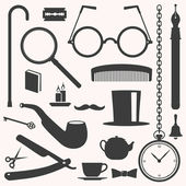 Gentlemens vintage stuff design elements set — Stock Vector