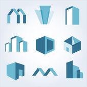 Vector stad gebouwen silhouet pictogrammen — Stockvector