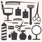 Barber and hairdresser related icons set — Stock Vector
