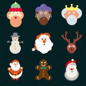 Christmas santa claus wisemen icons vector set — Stock Vector