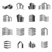 Vector city buildings silhouette icons — Stock Vector
