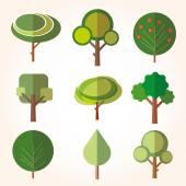 árbol. colección de elementos de diseño — Vector de stock