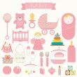 Vector illustration of babies and baby products — Stock Vector #58070801