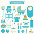 Vector illustration of babies and baby products — Stock Vector #58070961