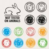 No animals testing sign icon. Not tested symbol. Round colourful — Stock Vector