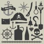 Pirates icons set — Stock Vector #61842903
