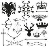 Heraldic symbols and elements — Stock Vector
