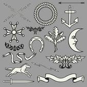 Heraldische Symbole und Elemente — Stockvektor