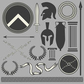 Old greek roman spartan set icons — Stock Vector