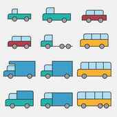 Car vehicle icons — Vettoriale Stock