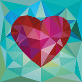 Low poly red heart — Stock Vector