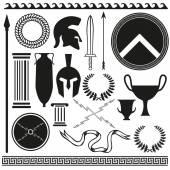 Old greek roman spartan set icons — Stock Vector