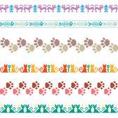 Stickade seamless mönster djur katter gränser pixlar vektor set — Stockvektor