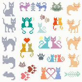 Set vector retro pixel cat — Stock Vector