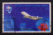 A stamp printed in Thailand shows airplane and Aviation, To commemorate 50 th Anniversary of AEROTHAI — Stock Photo