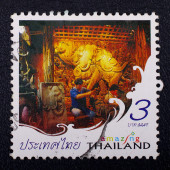 A stamp printed in Thailand shows Thai carving for promote Amazing Thailand campaign — Stok fotoğraf