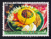 A stamp printed in Thailand shows Thai cuisine for promote Amazing Thailand campaign — Stock fotografie