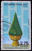A stamp printed in Thailand shows image of Krathong Dokmai To commemorate international letter writing week, — Stock Photo