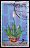 A stamp printed in Thailand shows image of Baisi Pak Cham, To commemorate international letter writing week — Stock Photo