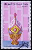 A stamp printed in Thailand shows image of Phum Dokmai, To commemorate international letter writing week, — Stock Photo