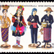 A stamp printed in Thailand shows image of Thai Folk Dolls To commemorate Iner Crafts Conex — Stock Photo #54536645