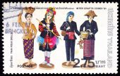 A stamp printed in Thailand shows image of Thai Folk Dolls To commemorate Iner Crafts Conex — Stock Photo