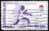 A stamp printed in Thailand shows image of XIII Sea Games Bangkok — Stock Photo