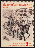 A stamp printed in Thailand shows image of warrior with chariot, — Stock Photo