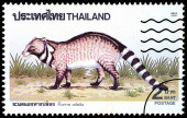 A stamp printed in Thailand shows image of Viverra zibetha, circ — Stock Photo