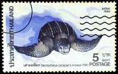 A stamp printed in Thailand shows image of Leatherback turtle or — Stock Photo