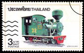 A stamp printed in Thailand shows image of Railway, circa 1990 — Stock Photo