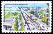 A stamp printed in Thailand shows image of expressway, To commemorate Inauguration of the first expressway — Stock Photo