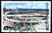 A stamp printed in Thailand shows image of expressway, Tocommemorate Inauguration of the first expressway — Stock Photo