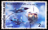A stamp printed in Thailand shows image of Fighters, To commemorate 72nd Anniversary of the royal Thai air force — Stock Photo
