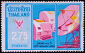 A stamp printed in Thailand shows image of Telegraph service tool, To commemorate 100th Anniversary of Telegraph service — Stock Photo