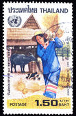 Stamp printed in Thailand shows image of farmer, To commemorate United Nations Day — Stock Photo