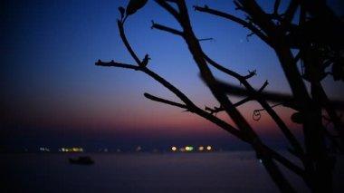 Twilight time with boat in sea, Sriracha, Chonburi, Thailand — Stock Video