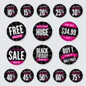 Black Friday Retail Stickers — Stock Vector