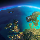 Detailed Earth. United Kingdom and the North Sea — Stock Photo