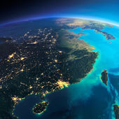 Detailed Earth. Eastern China and Taiwan — Stock Photo
