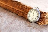Pocket watch next to book — Stock Photo