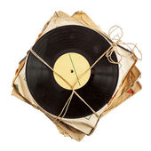 Pila de viejos discos de vinilo — Foto de Stock
